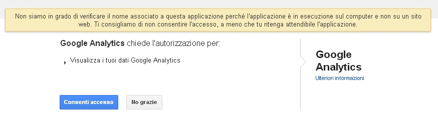 dopo essere entrato con login e password di Google Analytics autorizza l'accesso ai dati