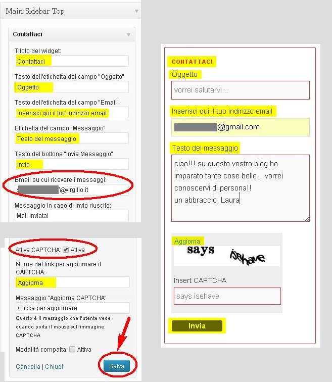 a sinistra: in giallo e rosso le aree che puoi personalizzare; a destra, quello che vedrà il tuo lettore nel tuo blog (in giallo le aree che puoi modificare)